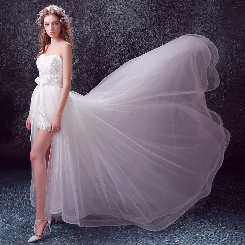 Detachable train wedding dress short front long back for Short wedding dress with removable train