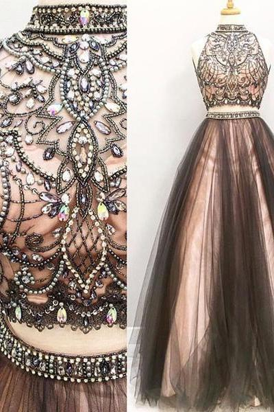 Sexy Prom Dress,Elegant Two Piece Sleeveless Prom Dresses,Formal Evening Dress,Formal Gown
