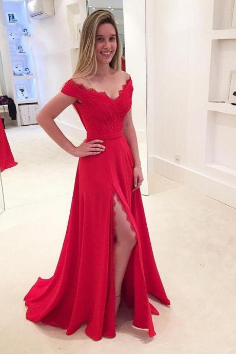 New Red Prom Dress V Neck Side Split Elegant Long Prom Evening Dress Modest Women Prom Dress 2017