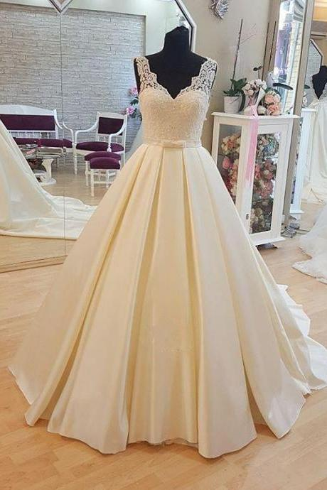 Noble Wedding Dresses,lace Wedding Dresses, v neckWedding Dresses, backless Wedding Dresses, Chapel train Wedding Dresses, Sashes Wedding Dresses, Satin Wedding Dresses