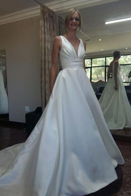 V-neckline backless Empire chapel train satin wedding dresses bridal dresses,a line long satin wedding dress,formal elegant satin wedding dress,v neck sexy wedding dress