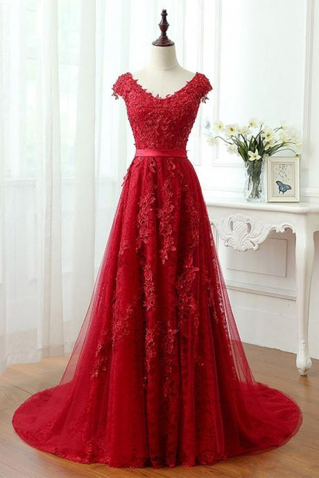 Charming Red Tulle Applique Lace Prom Dress,Long Cap Sleeve Evening Dresses,Red Lace Prom Dresses,A Line Long Lace Red Prom Dress,Cap Sleeve A Line Long Lace Red Prom Dress,Red Full Lace Evening Dress