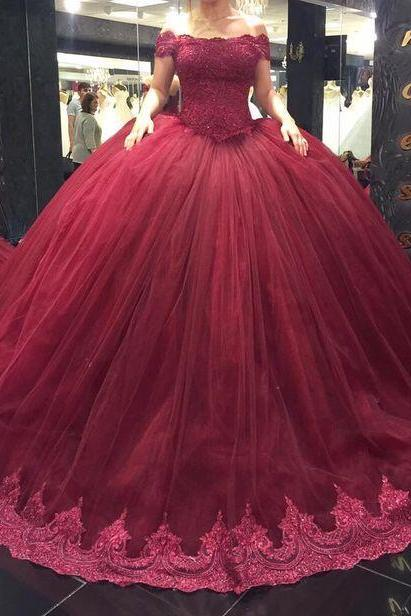 Elegant Dark Burgundy Ball Gowns Prom Dresses for Women