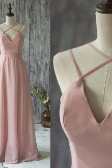 A line chiffon bridesmaid dress,long prom dress,spaghetti strap v neck evening dress,floor length prom dresses