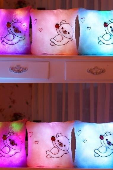 New 2015 Soft LED Light Bear Pillow Stuffed Plush Toys Cute Bear Pattern LED Shining Square Pillow Gifts for Love for Kids