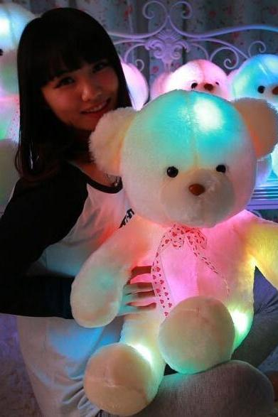 New LED Light Teddy Bear Plush Toys Flash Shining Toys White and Beige Kids Friends Gifts Christmas Birthday