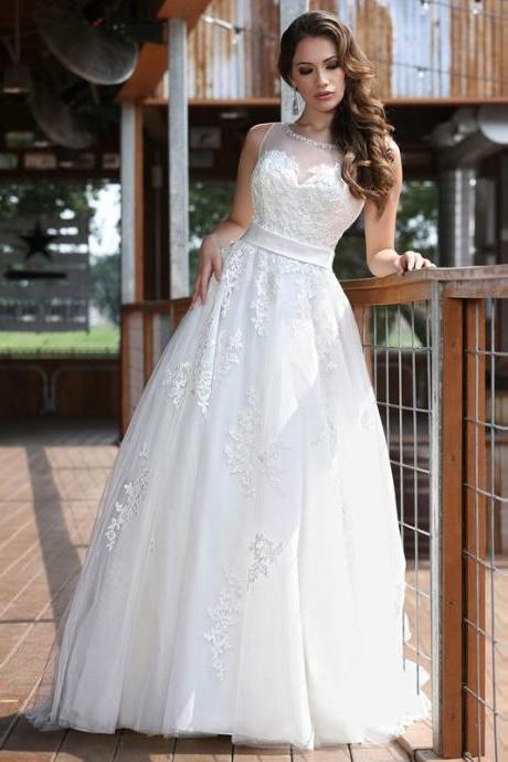 2016 Hot Sale Graceful Tulle Scoop Neck Tank Appliques Ball Gown Wedding Dresses Custom Made White Or Ivory Bridal Gowns Online
