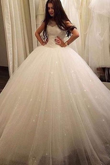 Ball Gown Wedding Dresses for 2016 Sexy Sheer Neck Backless Tulle Ball Gown Bridal Wedding Dresses vestido de noiva