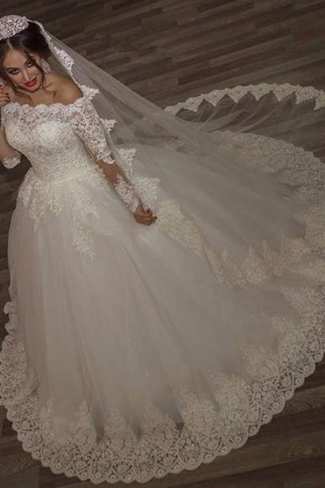 2016 New Arrival Wedding Dresses Special Boat Neck Lace Wedding Gowns Long Sleeves Appliques Beading Gorgeous Bridal Gowns