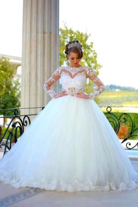 Vestido de Noiva Princess Long Sleeve White Wedding Dress 2016 Sexy Sheer Ball Gown Wedding Gowns Vestido de Casamento