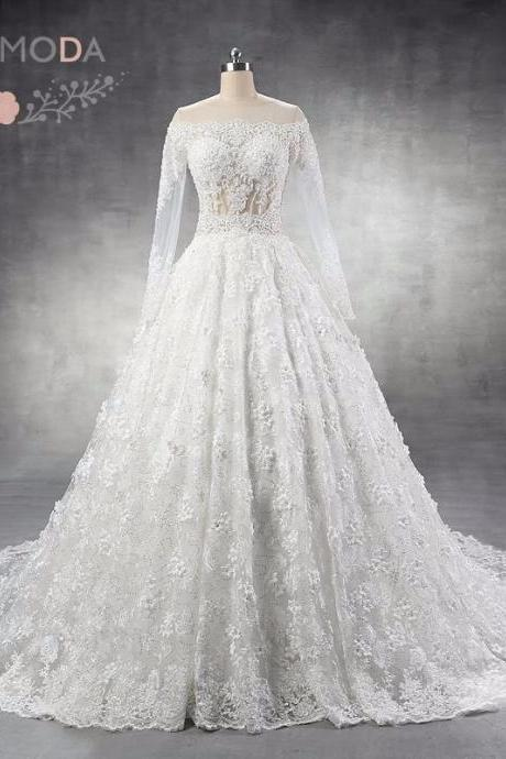 Luxury Long Sleeves Lace Wedding Dress Arabic Heavily Pearl Beaded Ball Gown with 3D Flowers Cathedral Royal Train