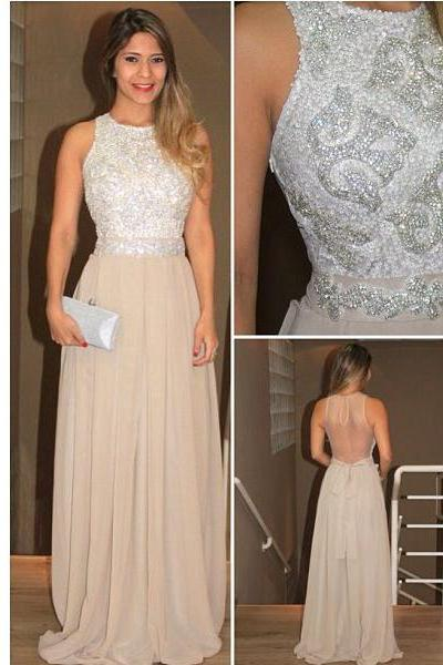 2016 long prom dress, champagne prom dress, charming prom dress, sparkle prom dress, backless prom dress, prom dress 2016, evening prom gown