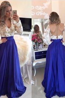 2016 Fashin Prom Dress,Long Sleeve Prom Dress,Lace prom Dress,v-Neck Prom Dress,A-Line Prom Dress