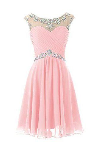 2016 Charming Homecoming Dress,Beading Homecoming Dress,Chiffon Homecoming Dress, Cute Short Prom Dress