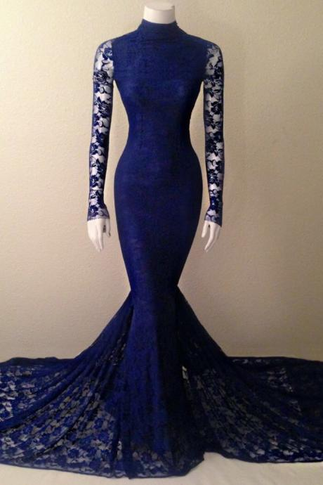 2016 Navy Blue Soft Lace Long Sleeves Mermaid Evening Gown With High Neck