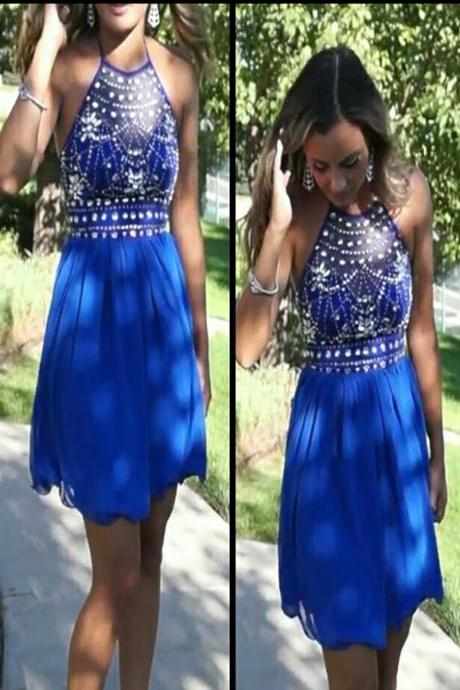 2016 Short Homecoming Dress,Tulle Homecoming Dress,Beading Prom Dress,Backless Prom Dress,Blue Prom Dress