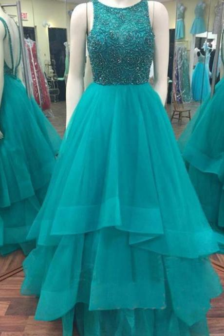 Sleeveless High Neck Floor-length A-line Prom Evening Dress with Beaded Embellished Bodice