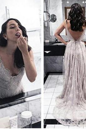 DoDodress-The Charming Lace and Tulle Prom Dresses,V-Neck Backless Prom Dresses,Prom Dresses,Floor-Length Prom Dress Evening Dress-2017