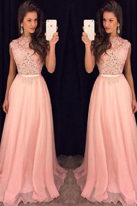 DoDodress-2016 New Arrival O-Neck Ombre Dress Sleeveless Prom Dresses Unique Vestidos De Gala Pink Prom Dress Evening Dress-2017