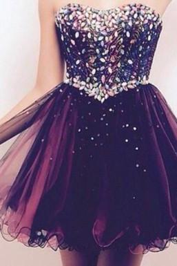 DoDoDresses Colorful Beading And Tulle Homecoming Dresses,A-Line Graduation Dresses,Homecoming Dress,Short/Mini Homecoming Dress