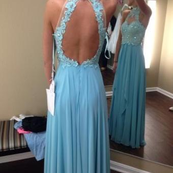 Elegant Chiffon Backless Lace Long Prom Dresses, Dress For Prom, Evening Dresses