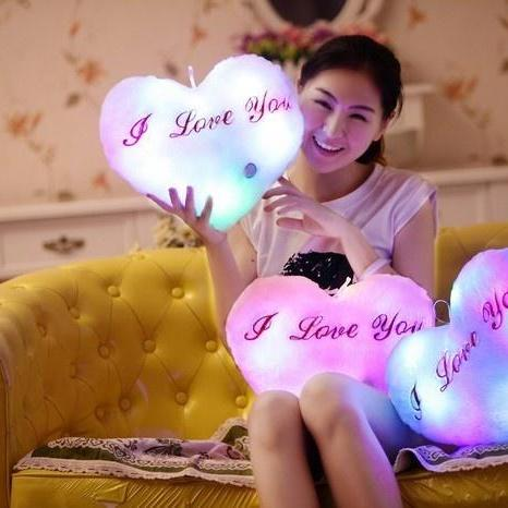 36*30CM Stuffed and Plush Toys Heart Shape LED Lights Colorful Heart Light Pillows Valentines Christmas Gifts for Girlfriend