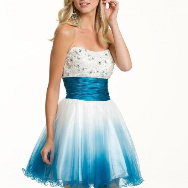 New Arrival Elegant Sky Blue Scoop Short Homecoming Dresses Lace