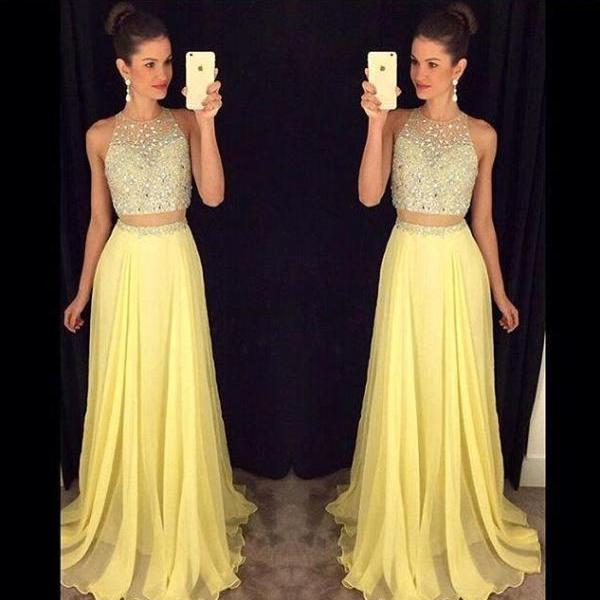 2016 Two Pieces Yellow Prom Dress Evening Party Dress