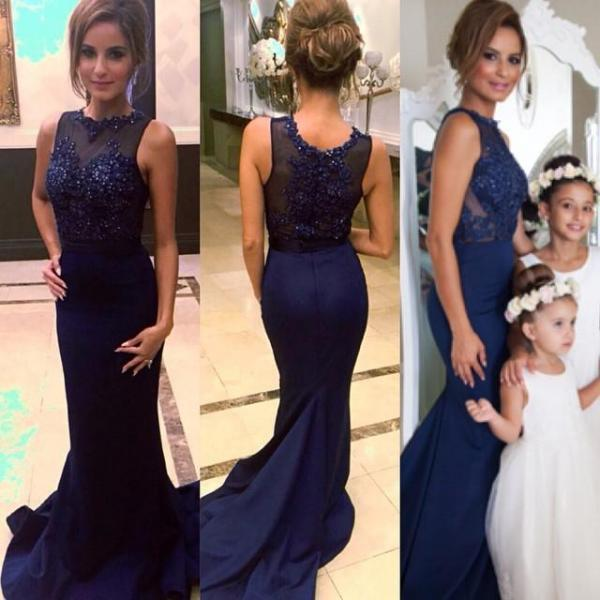 2016 Navy Prom Dresses Mermaid Party Gown Floor Length
