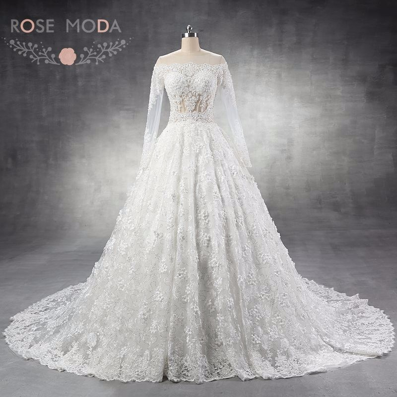 Luxury long sleeves lace wedding dress arabic heavily for Heavy beaded wedding dresses